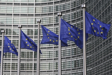 europeans: European flags in front of the European Commission building in Brussels Stock Photo
