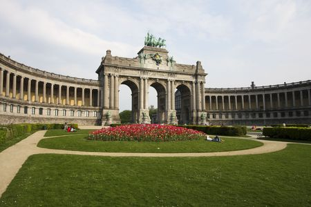The Triumphal Arch (Arc de Triomphe) in the Cinquantenaire park in Brussels. Built in 1880 for the 50th anniversary of Belgium.