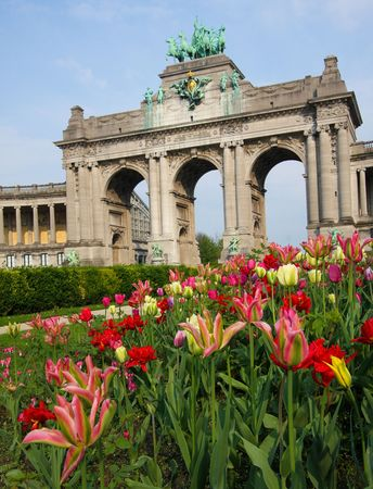 built in: The Triumphal Arch (Arc de Triomphe) in the Cinquantenaire park in Brussels. Built in 1880 for the 50th anniversary of Belgium.