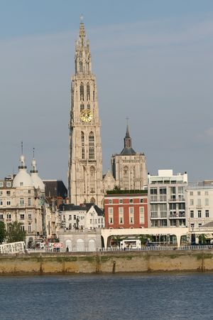 of our lady: Cathedral of Our Lady in Antwerp at the Scheldt river