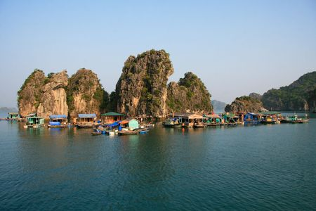 Floating village of Vietnamese boatpeople in Halong Bay.