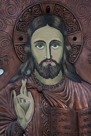 jesus face: Medieval icon of Christ in Georgian church