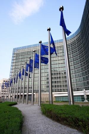 belgie: Europese vlaggen in Brussel Stockfoto