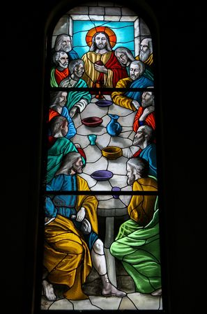 Last Supper; stained glass window in church in Iquique, Chile photo