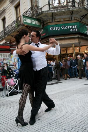 Buenos Aires, Argentina - May 14, 2008: Couple dancing Tango on the Florida street in Buenos Aires