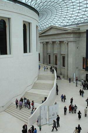 LONDON, UK - FEB 28 2009: Interior of the British Museum in London, United Kingdom