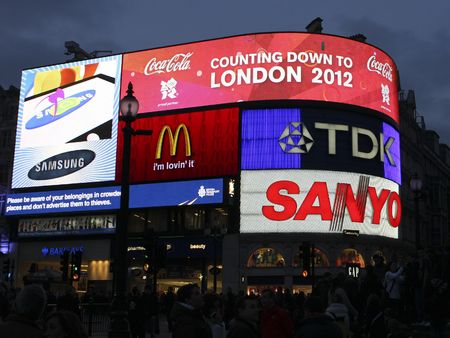 LONDON, UK - FEB 28 2009: Piccadilly Circus in London displaying Countdown to London 2012, refering to the Olympics.