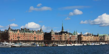 gen: View from the see over Strandv�gen Stockholm, Sweden with old houses and anchored boats.