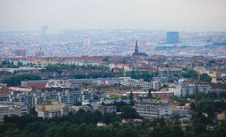 Panorama on the center of Vienna from a hill near the city photo