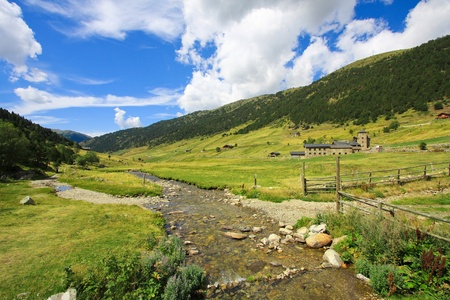 Mountain river through Vall dIncles landscape in Andorra, at the Pyrenees mountains