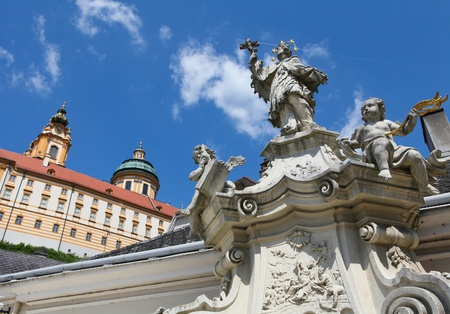 angels fountain: Stift Melk, famous Benedictine monastery in baroque style, built in 1736 Stock Photo