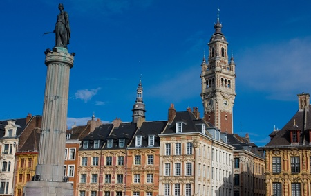 Deesse statue (1845) and center of Lille, France