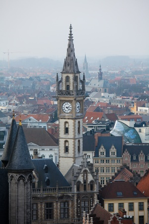 flanders: Tower of the Old Post Building in Ghent, Flanders, Belgium Stock Photo