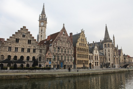 Graslei, the historic center of Ghent at the embankment of the Leie river. Stock Photo - 8819663