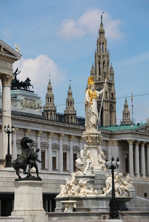 Athena Fountain and the Austrian Parliament in front, Vienna City Hall in the rear of the picture
