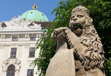 Lion statue (created in 1745) in the Hofburg palace in Vienna, Austria photo
