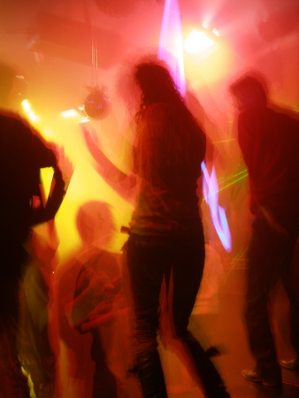 Shanghai Nightlife; unrecognisable people in a disco photo