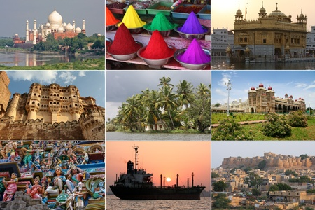 none: Colorful sights of India in a collage, None of the depicted buildings or artworks requires a property release  Stock Photo