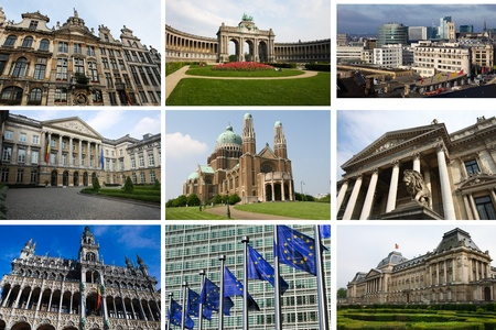 Landmarks of Brussels, capital of Belgium, in a collage. All buildings and statues created more than 100 years ago, no property release required. Stock Photo