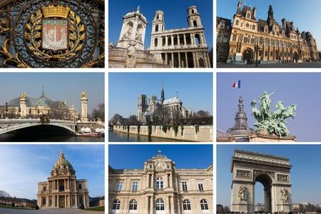 Wahrzeichen von Paris, Hauptstadt von Frankreich, in einer Collage. Alle Gebäude und Statuen schuf mehr als 100 Jahren, benötigt kein Eigentum-Release.