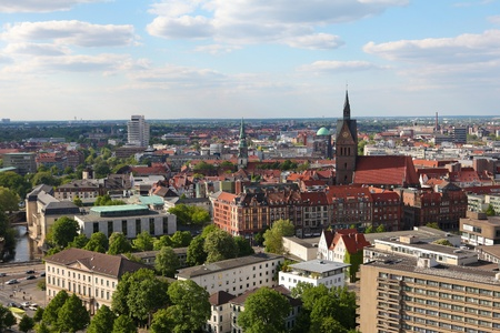 View on the center of Hannover from the new Town Hall (neues Rathaus).