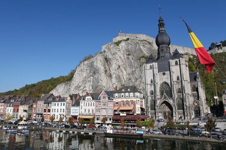 meuse: The center of the town of Dinant with citadelle and church  at the Meuse river
