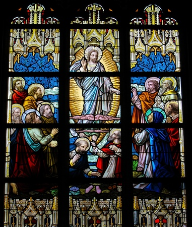 Ascension of Christ. This window was created in 1895 photo