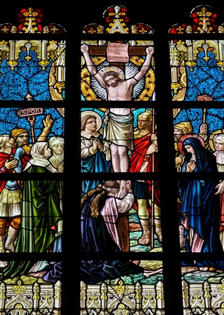Jesus on the Cross. This window was created in 1895 photo