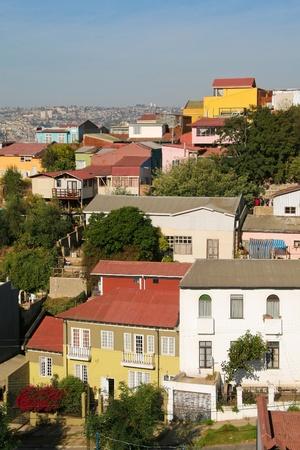 Colorful architecture in Valparaiso in Chile photo