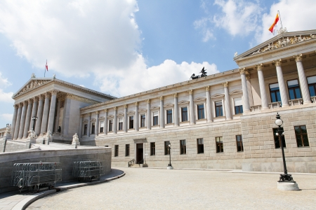 Austrian Parliament Building in Vienna  created more than 100 years ago, including the statues, photo