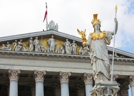 athene: Pallas Athena Statue in Vienna at the Austrian Parliament  Both the statue and the building in the rear were created before 1900  no property release is required