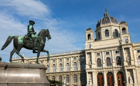 Statue in Front of the Kunsthistorisches Museum in Vienna   statue and building created before 1900