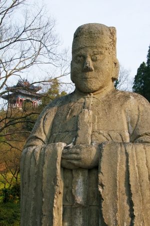 Statue at the Elephant Road towards the Ming Xiaoling Mausoleum, in Nanjing, Jiangsu, China. These statues were created in the 15th Century AD, no property release is required. photo
