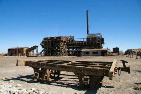 mining town: Abandoned nitrate factory in Santa Laura, near Iquique in the Atacama desert, Chile