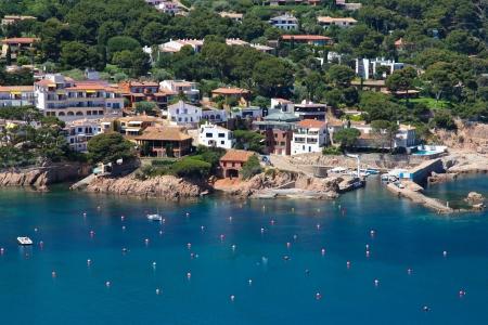 beaches of spain: Aigua Blava is a small bay on the Costa Brava, Girona, Catalonia  Spain  near Begur and Palafrugell