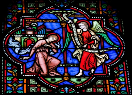 Prophet Daniel and the Archangel Gabriel  This window was created more than 150 years ago, no property release is required  photo