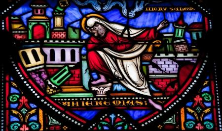 lamentation: Il profeta Geremia lamenta la distruzione di Gerusalemme � stata creata questa finestra pi� di 150 anni fa, nessun rilascio di propriet� � obbligatoria Archivio Fotografico