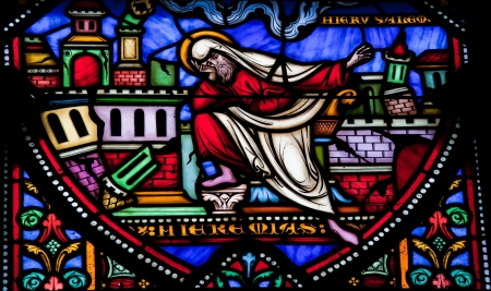 The prophet Jeremiah laments the destruction of Jerusalem  This window was created more than 150 years ago, no property release is required  Stock Photo