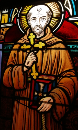 franciscan: Stained glass window depicting Saint Francis of Asisi, created before 1910