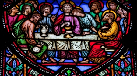 Jesus and the twelve apostles on maunday thursday at the Last Supper. This window was created in 1866, no property release is required.