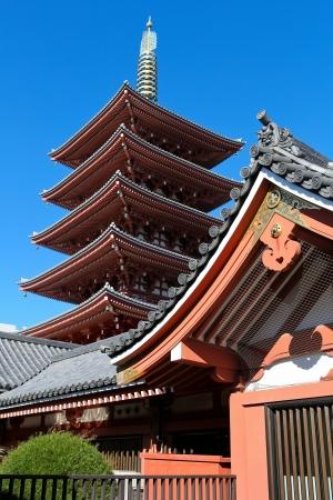 tokyo japan: Pagoda at Sensoji Asakusa Temple in Tokyo, Japan Editorial