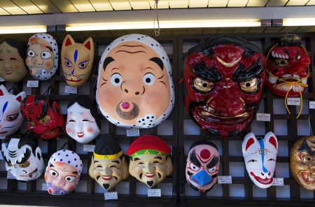 TOKYO - NOVEMBER 13: Masks for sale in Asakusa temple in Tokyo, on November 13, 2012.