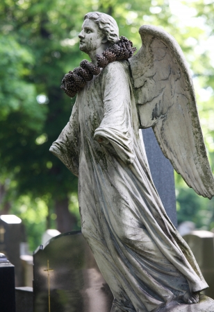 Angel statue on Zentralfriedhof, Vienna. This statue was created before 1895, no property release is required. photo