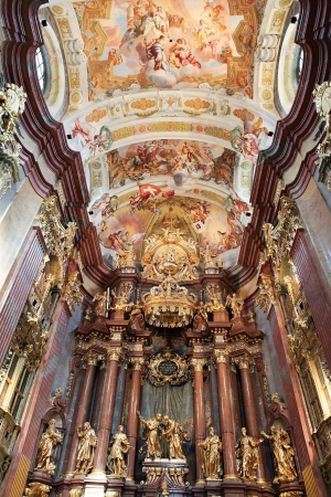Interior of the main church in Stift Melk monastery in Austria. All the artwork was created before 1736