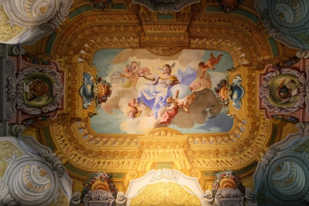 frescoed: Ceiling fresco in the famous library of Stift Melk monastery in Austria. All the artwork was created before 1736, no property release is required.  Editorial