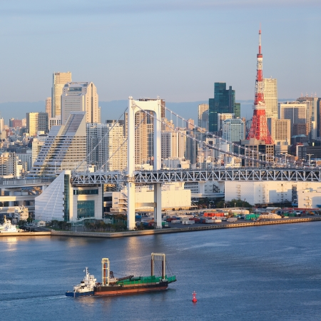 Skyline of Tokyo as seen from Odaiba at sunset photo