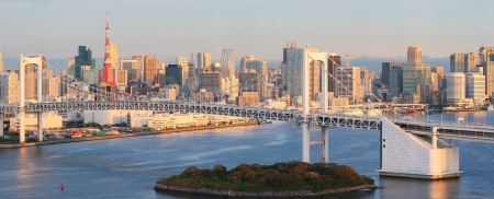 tokyo: Skyline of Tokyo as seen from Odaiba at sunset