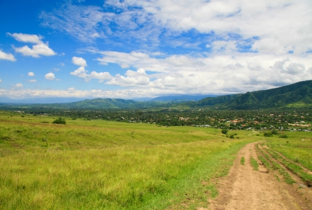 dirtroad: Green valley near Salta, Argentina Stock Photo