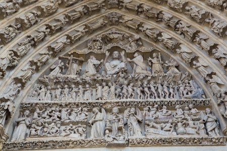 judgement day: Tympanum of Cathedral of Our Lady of Amiens  13th Century  Stock Photo