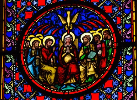 pentecost: Stained Glass window depicting Pentecost, in Bayeux, Calvados, France